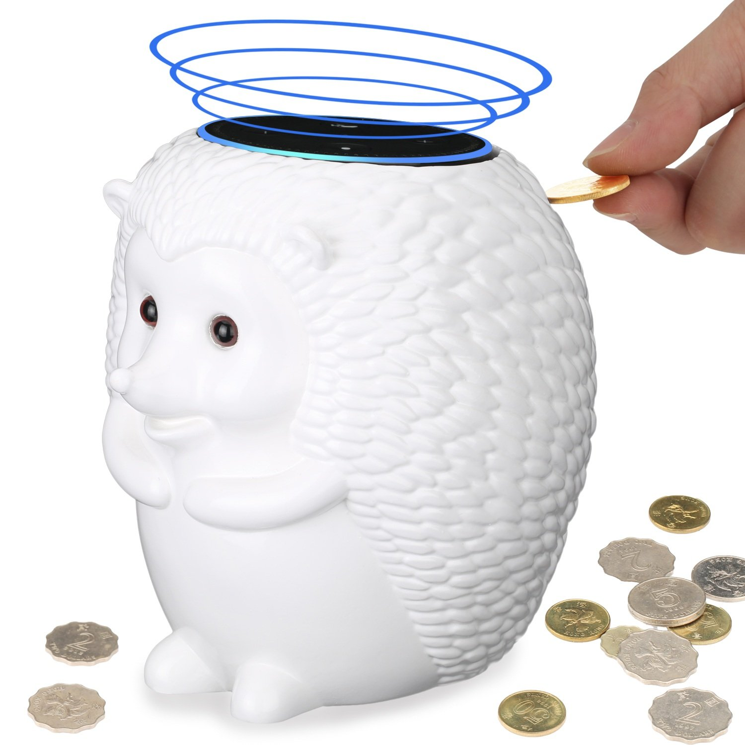 CASECRET Crafted Hedgehog Statue Guard Station Stand Holder with Coin Collection Savings Bank Function for Echo Dot - Alexa Echo Dot Stands