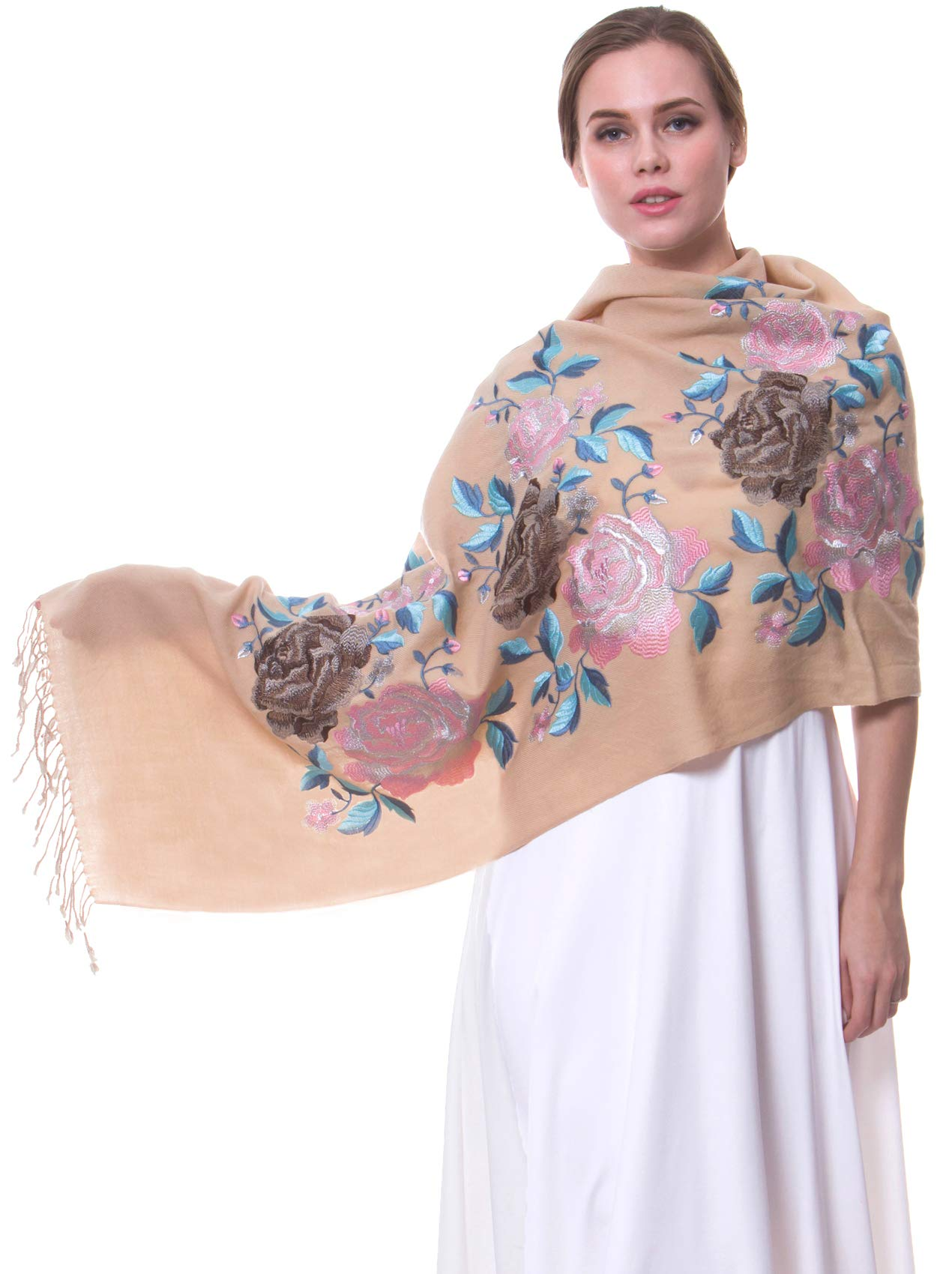 MORCOE Women's Top-class 100% Wool Delicate Embroidered Soft Long Floral Scarf Warm Wrap Party Wedding Shawl Gift ... (Beige)