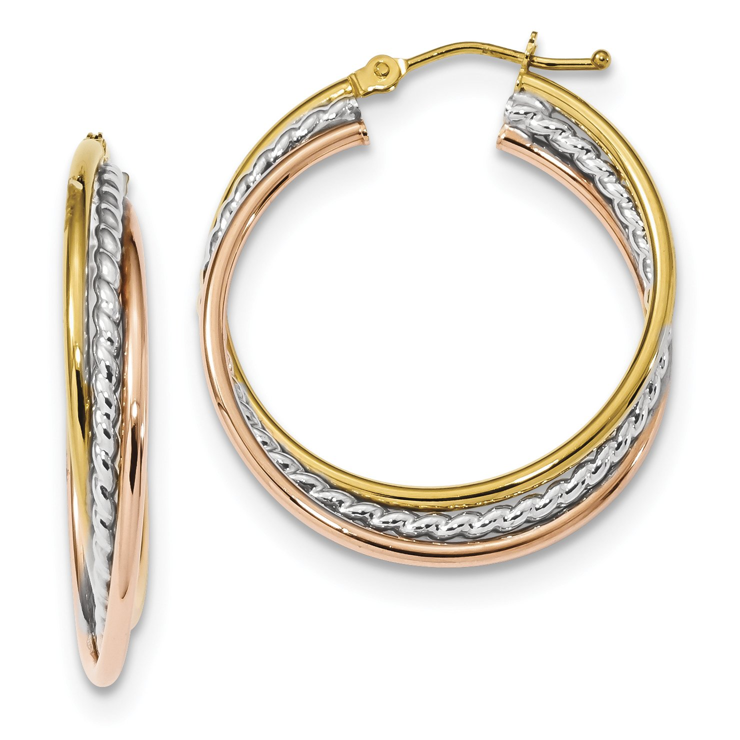 ICE CARATS 14k Tri Color Yellow White Gold Rope Twisted Hoop Earrings Ear Hoops Set Fine Jewelry Gift Set For Women Heart