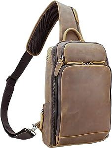 Polare Modern Style Sling Shoulder Bag Men's Travel/Hiking Daypack with Full Grain Italian Leather and YKK Zippers (Medium)