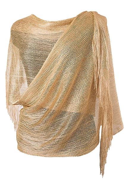 15fe9abef79 MissShorthair Womens Wedding Evening Wrap Shawl Glitter Metallic Prom Party  Scarf with Fringe(Champagne Gold