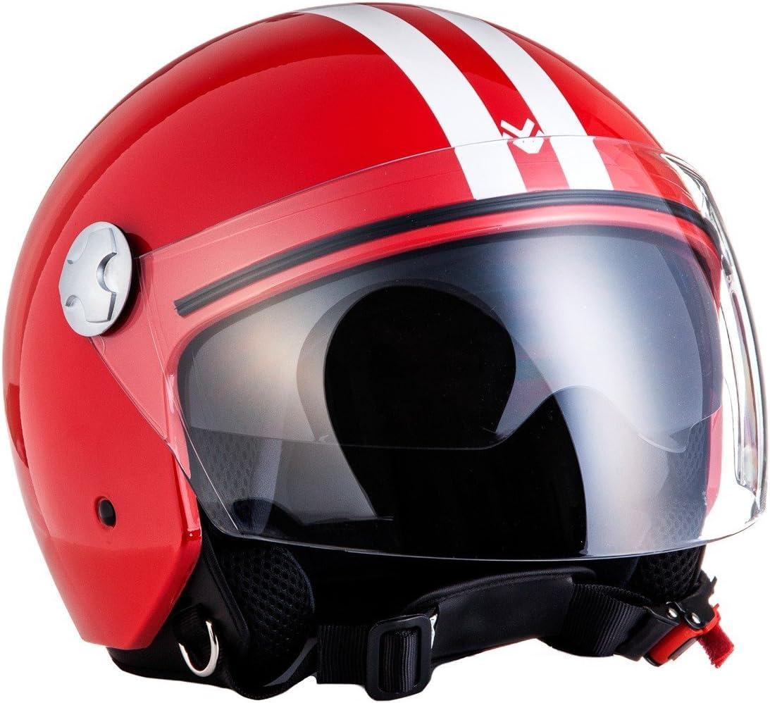 ECE certificado XXL Fun Rojo 63-64cm ARMOR Helmets AV-63 Casco Motocicleta