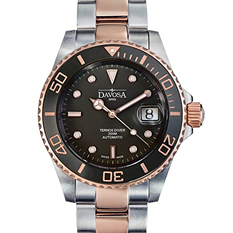 Amazon.com: Davosa Swiss Made Men Wrist Watch, Ternos Ceramic 16155565 Professional Automatic Analog Display & Luxury Bezel: Watches