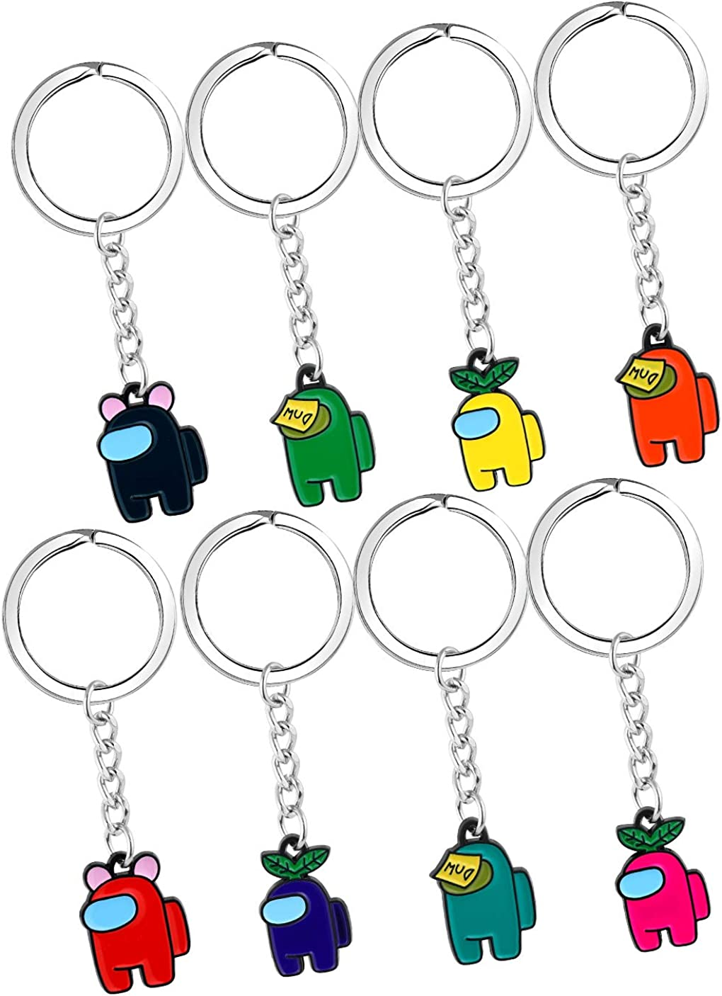 4 pcs Among Us Keychain Crewmate Among Us Fans Keychains Set Toys Funny Rubber Among Us Keyrings Gifts