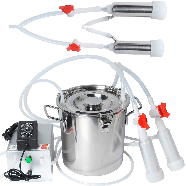 Electric Milking Machine for Cows Goats Sheep Portable Pulsation Milking Machine Single Bucket Piston Vacuum Pump (5L)