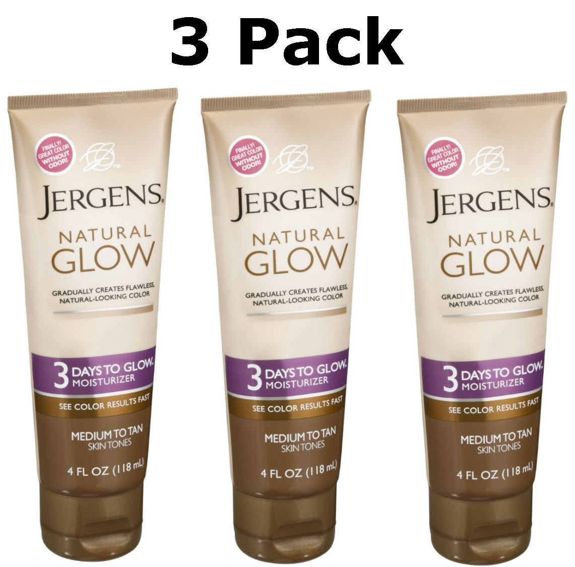Jergens Natural Glow 3 Days to Glow Moisturizer Medium to Tan Skin - 4 Ounce, Pack of 3 by Jergens