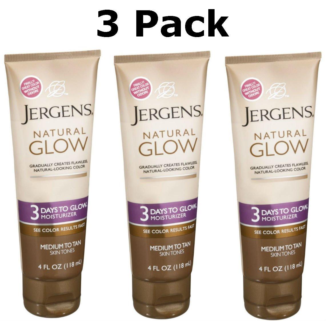 Jergens Natural Glow 3 Days to Glow Moisturizer, Medium to Tan 4 oz (Pack of 3)