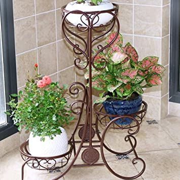 LCPG Estantes para Flores Balcón Sala de Estar Hierro Planta Multicapa Suculentas Estante para macetas Plantas de Interior Estantes de clorofitina ...