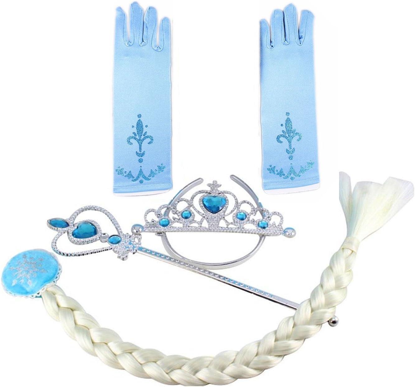 Eiskönigin Frozen Elsa Anna Mädchen Kinder Krone Zauberstab Handschuhe Zubehör