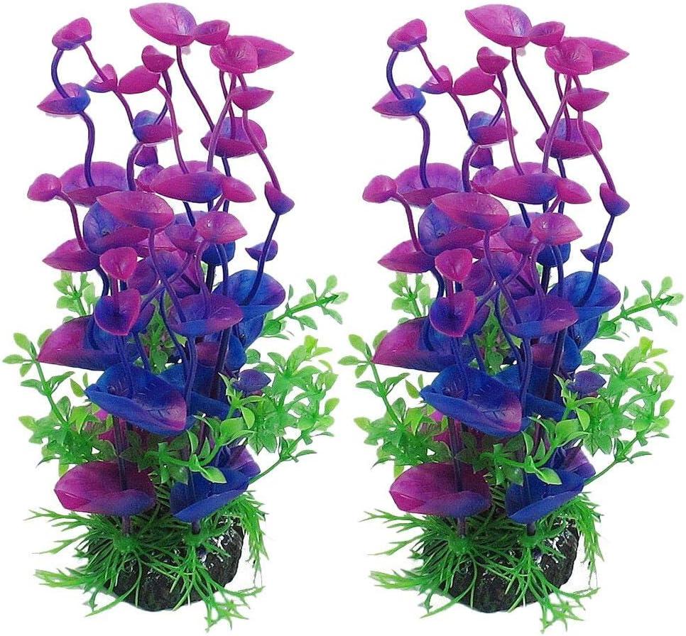 Purple Hunpta@ 2PC Aquarium Decor Fish Tank Decoration Ornament Artificial Plastic Plant