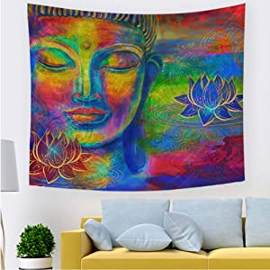 Quzzion Asian Tapestry, Colorful Mandala Wall Tapestry, Psychedelic Tapestry Decorations Wall Hanging Tapestries for Bedroom Living Room Home Decor (04,39.3× 27.5 inches)