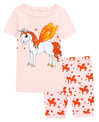 0775bf3fda Kids Pajamas Hop Unicorn Girls Pajamas Children 100% Cotton Shorts Set  Toddler Sleepwears (Pink