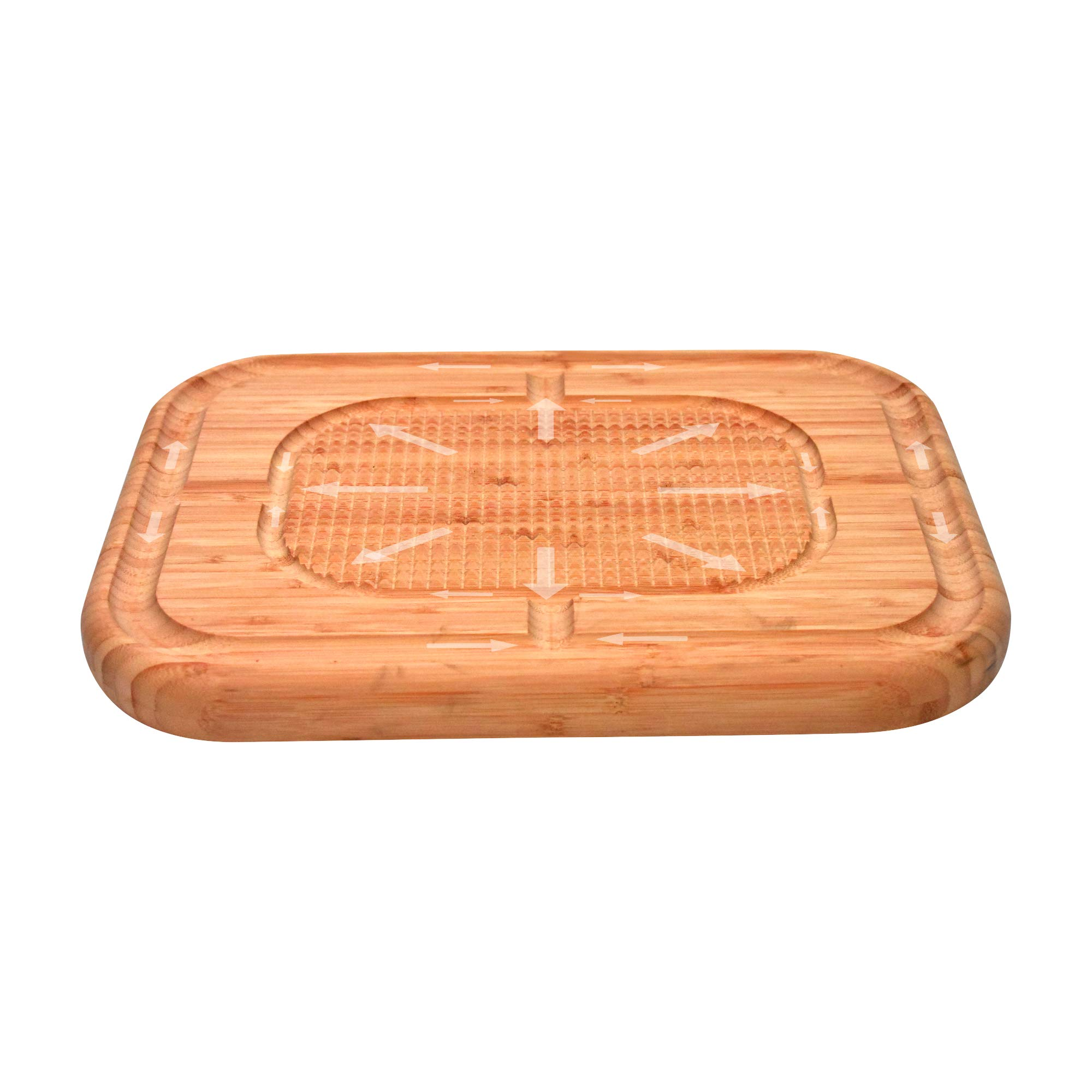 Bambusi Large Carving Cutting Board - 100% Natural Bamboo Meat Serving Tray with Deep Juice Grooves | Stabilizes Beef & Poultry While Chopping | Great Father's Day Gift Idea by Bambüsi (Image #8)