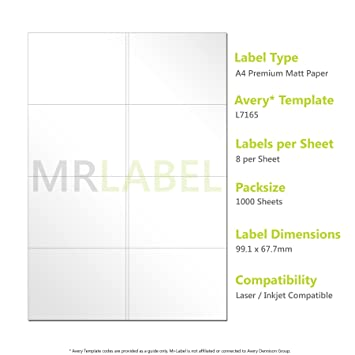 avery compatible labels l7165 j8165 8 labels per page 1000