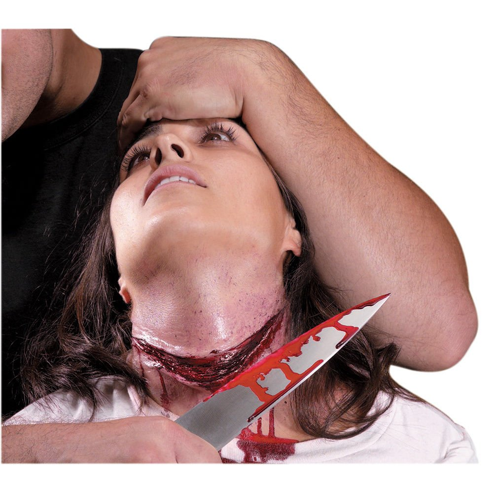 eXXtra Store Fake Wound Cut Scar Special Effect Slashed Neck Reel Gurgle Latex Makeup +eBook