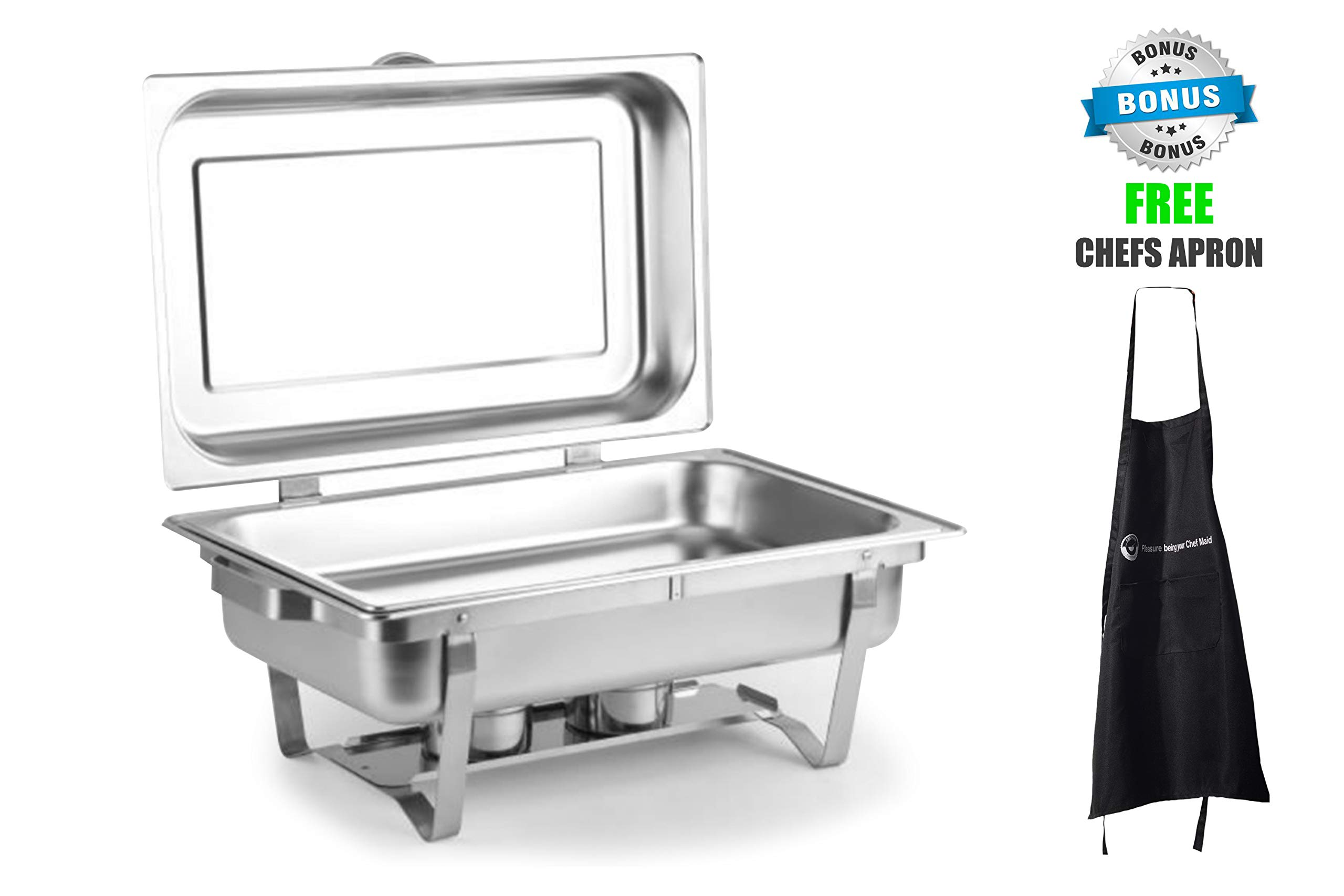 ChefMaid 8 Quart Full Size Stainless Steel Chafer set HINGED DOME COVER with Folding Frame + FREE CHEFS APRON