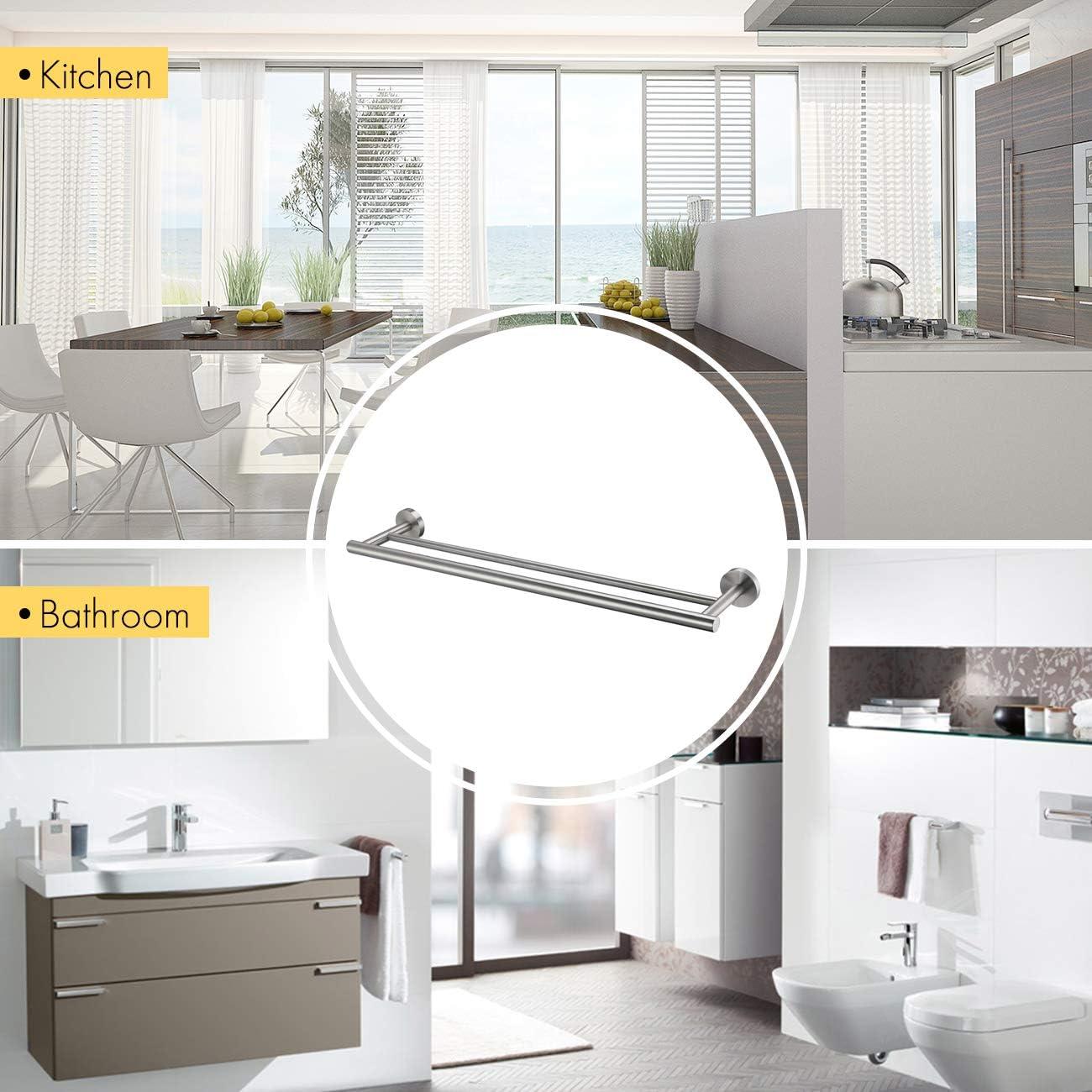KES Handtuchhalter Handtuchstange Doppel Handtuch Halter SUS 304 Edelstahl Badezimmer Dusche Wandmontage 24-Inch Geb/ürstet A2001S60-2