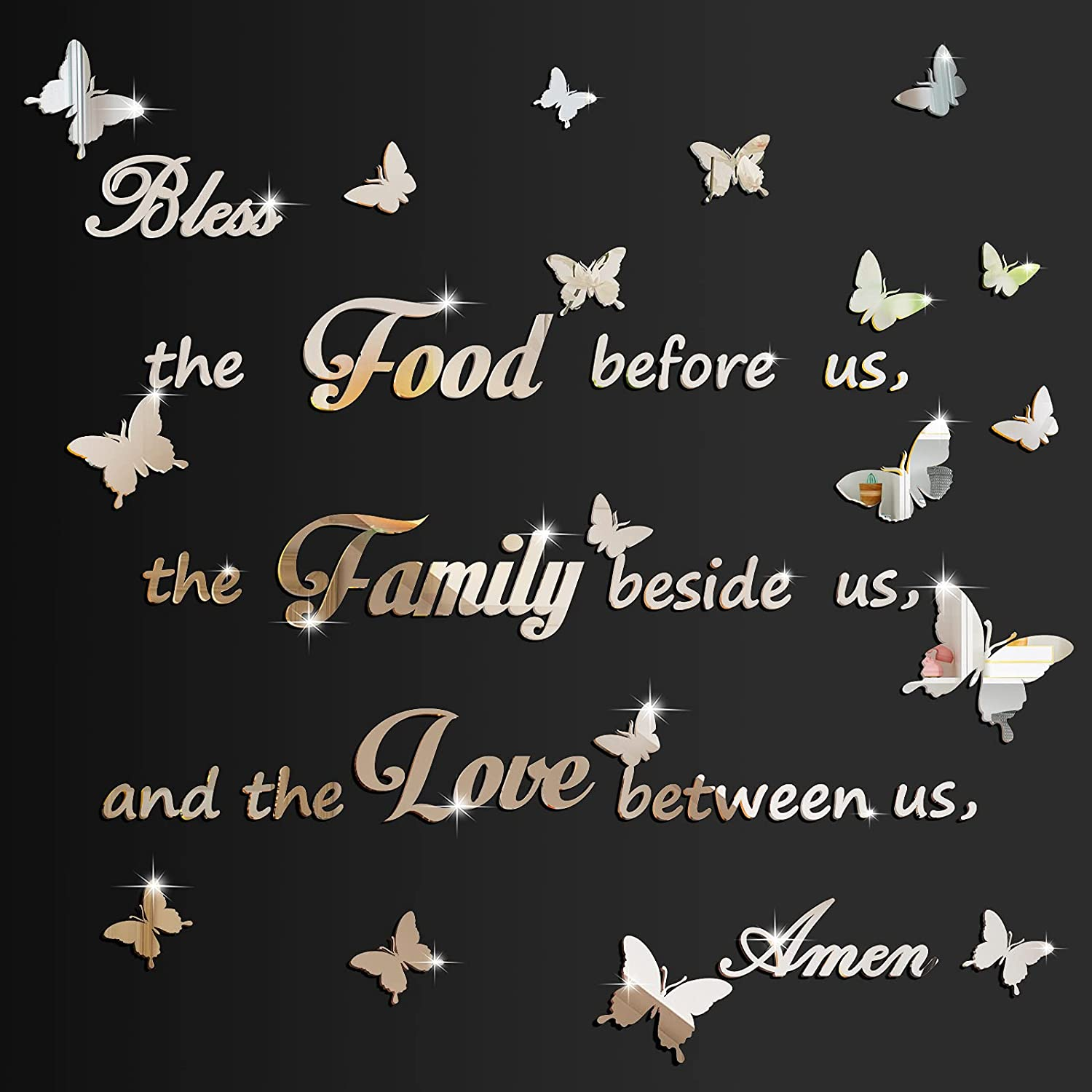 2 Pieces 3D Acrylic Dinner Prayer Mirror Wall Stickers Kitchen Wall Decals Bless The Food Before Us Mirror Wall Stickers Home Decorations for Kitchen Dining Room, Silver