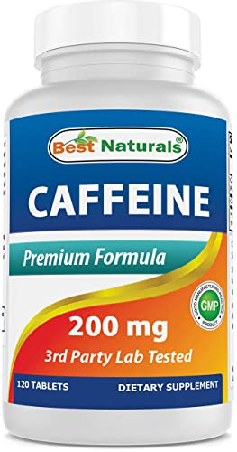 Best Naturals Caffeine Pills 200mg 120 Tablets – Non Habit – Proven No Crash or Jitters