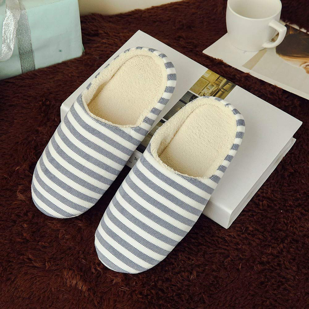 Goldweather Women Men Comfy Slip On Memory Foam Slippers Winter Warm Anti-Slip House Shoes