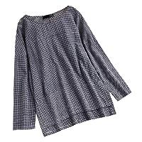 Hauts Chic, YUYOUG Rétro Femmes Coton Lin Chemise Round Neck Casuel Chic DéContracté Large Manches Longues Tee Shirt Robe Bouton Pullover T-Shirt