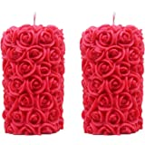 Shraddha Creation Rose Pillar Decorative Smokeless Designer Candle, Red Color with Rose Fragrance (Set of 2)