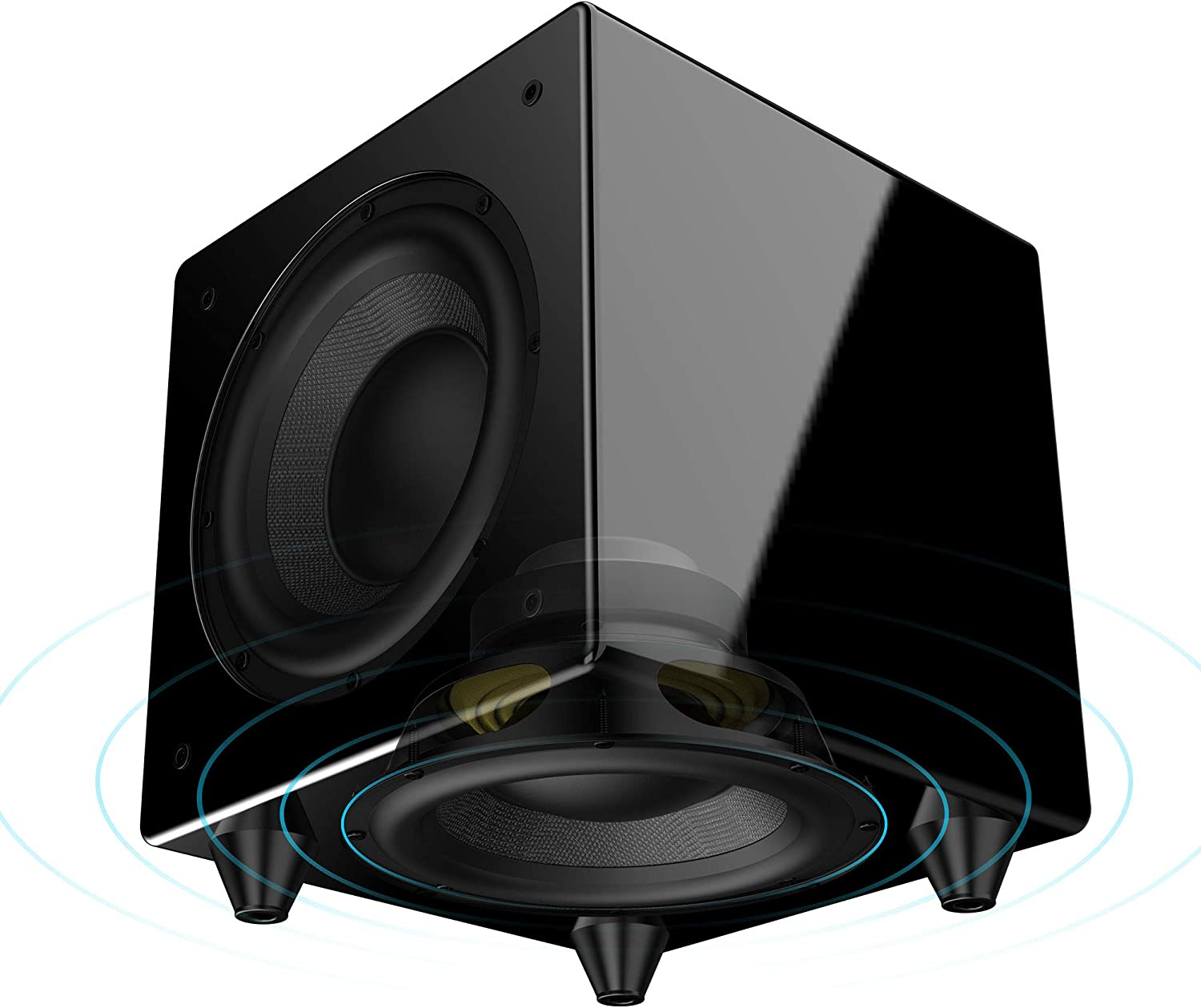 "OSD Audio Nero Dual X8 Dual 8"" Dynamic Powered Subwoofer with Active andPassive Woofers and 300W of Power, Gold-plated Inputs & Piano Black Finish"
