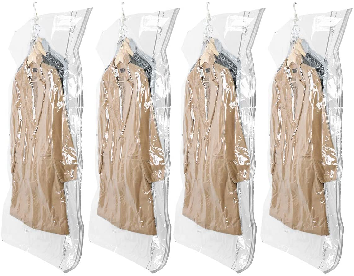 TAILI Hanging Vacuum Space Saver Bags for Clothes, 4 Pack Long 53x27.6 inches, Vacuum Seal Storage Bag Clothing Bags for Suits, Dress Coats or Jackets, Closet Organizer and Storage