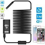 Wifi Endoscope, Dr.meter 2.0 Megapixels HD Digital Inspection Camera with 8 LEDs and 5 Meters (16.4ft) Cable Handheld Borescope for iOS and Android Smartphone, iPhone, Samsung, iPad, Tablet