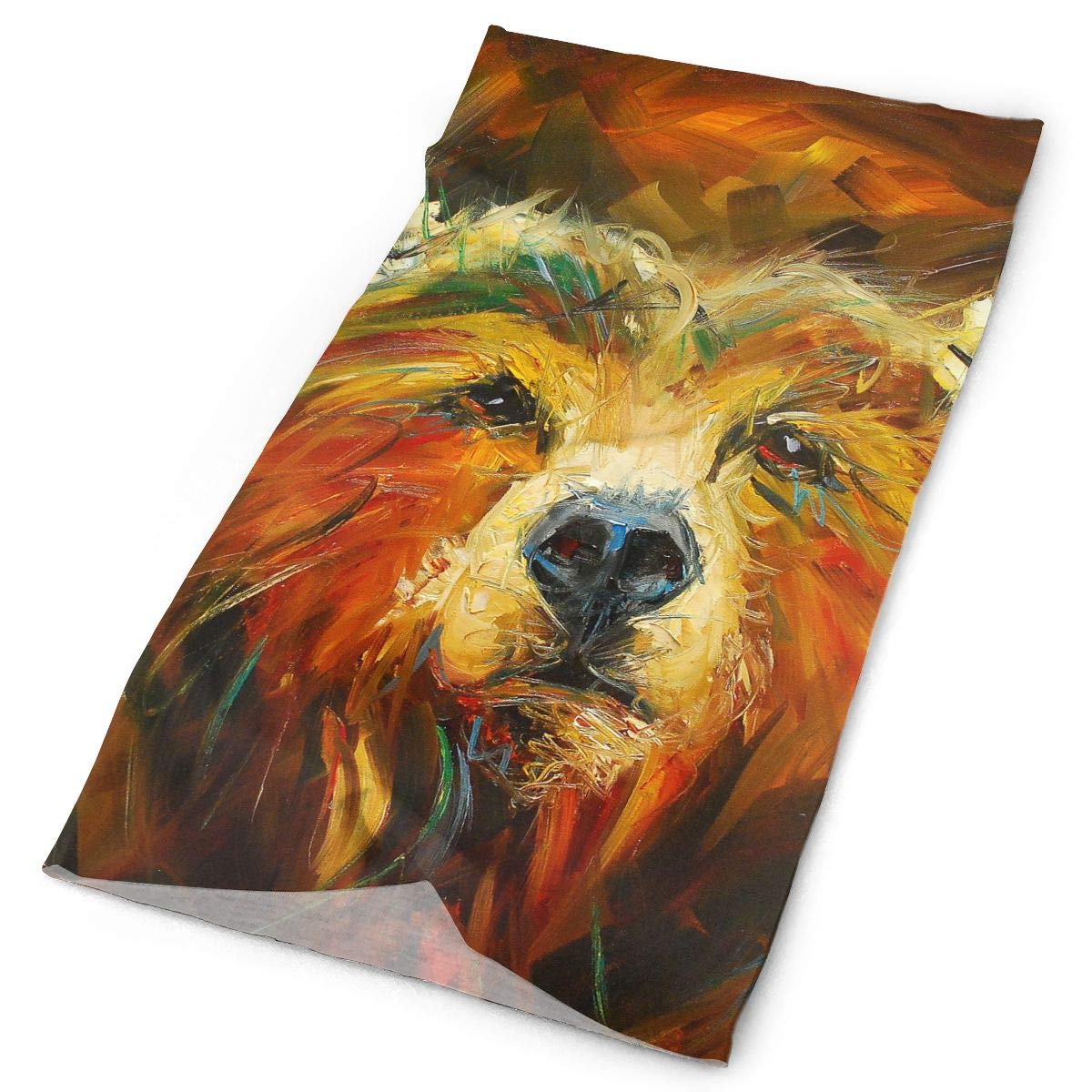 Colorful Bear Oil Painting Unisex Fashion Quick-Drying Microfiber Headdress Outdoor Magic Scarf Neck Neck Scarf Hooded Scarf Super Soft Handle