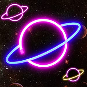 Planet Neon Light Red/Blue Neon Sign Signs Wall Decor, Battery or USB Operated Planet Neon Lights LED Planet Neon Signs Light up for Home,Kids Room,Bar,Festive Party,Christmas,Wedding