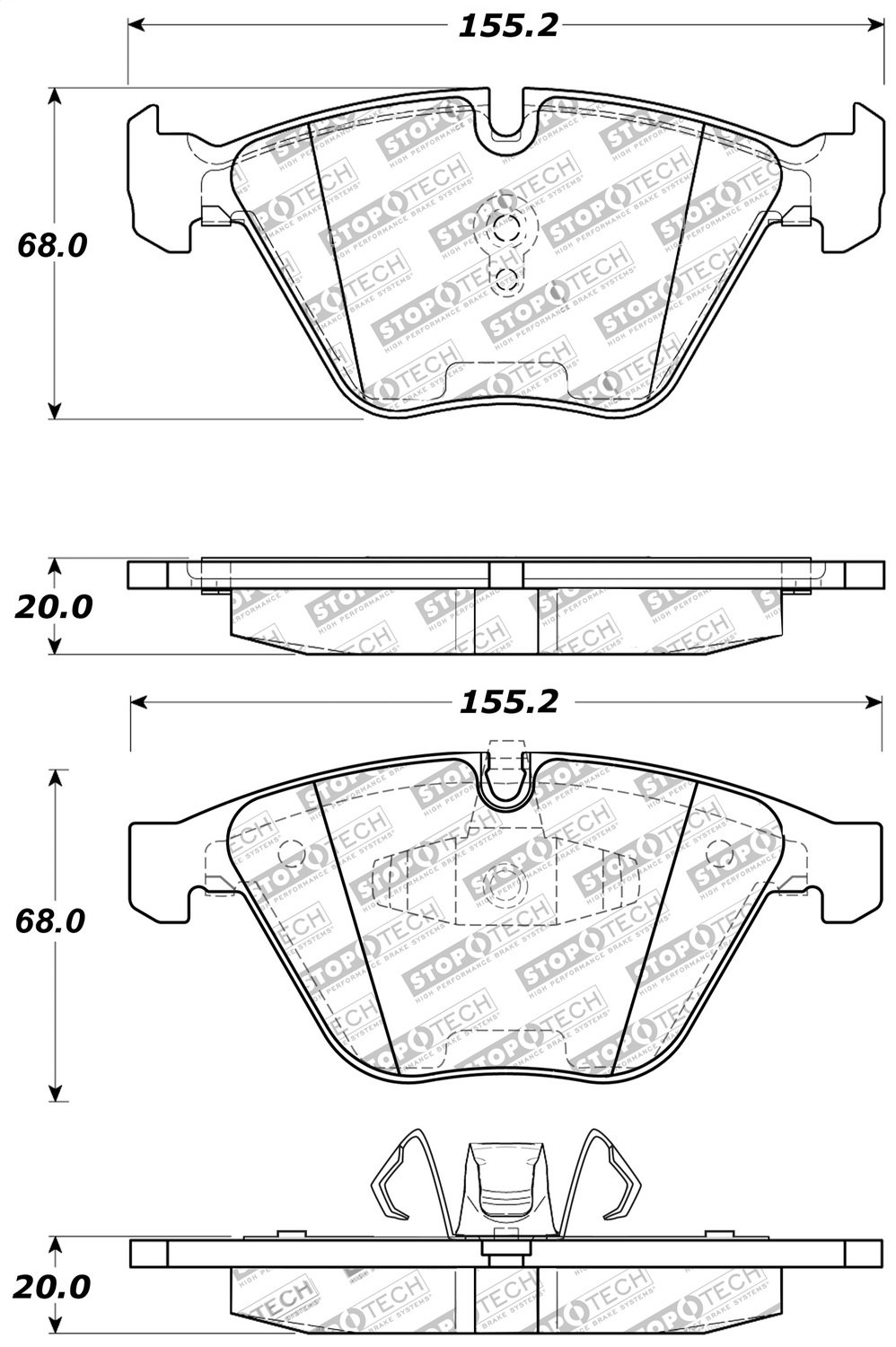 StopTech 309.12600 Street Performance Front Brake Pad