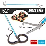 Fnova 52 Inch Professional Standard Snake Tongs, Most Advanced All-in-One Aluminum Alloy Reptile Grabber Rattle Snake Catcher Wide Jaw Handling Tool