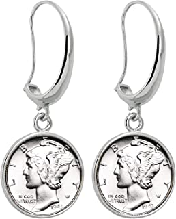product image for Coin Earrings Mercury Dime | Silvertone Hook Style | Genuine Coin | Women's Fashion Jewelry