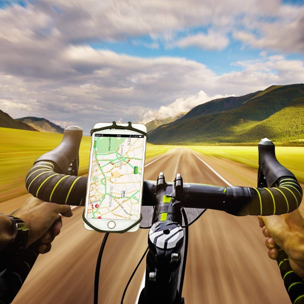 Universal Bike Phone Holder 360/° Rotation Silicone Bicycle Stem Cell Phone Holder /& Motorcycle Handlebar Mount