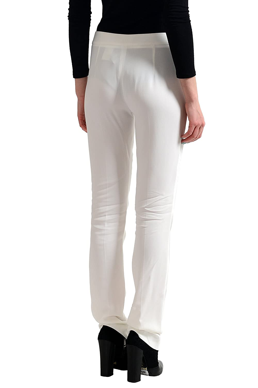 Just Cavalli Women's White Flat Front Casual Pants US 4 IT 40