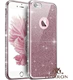 DORRON iPhone 6/6s Rose Gold New Luxury Bling Series Shockproof Soft TPU Sparkling Swarovski Crystal Diamond Impression Rhinestone Electroplated Edge Glitter Back Removable Skin Premium Quality Back Cover for iPhone 6 & 6s - Rose Gold