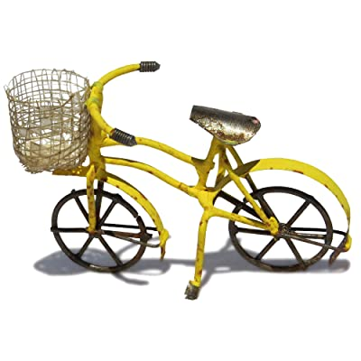 jeremie Pedal Bicycle with Straw Basket, Color Options for Miniature Garden, Fairy Garden, Yellow: Home & Kitchen