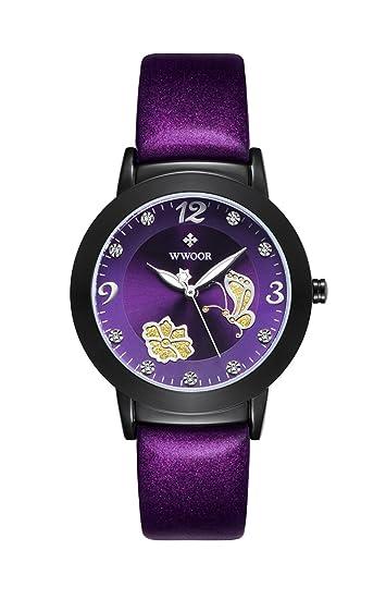 wwoor de la mujer Casual relojes moda luminoso diamantes de imitación correa de acero inoxidable reloj