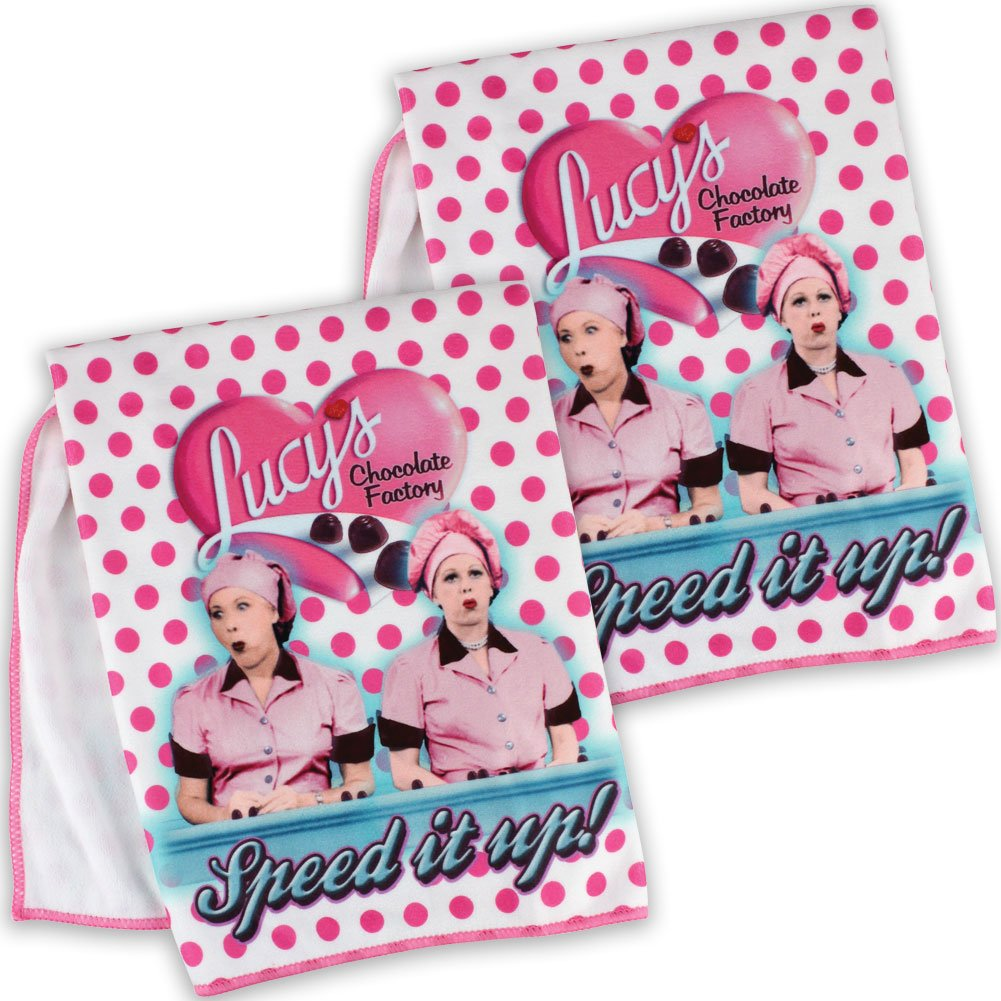 2 I Love Lucy Chocolate Factory Microfiber Kitchen Towels