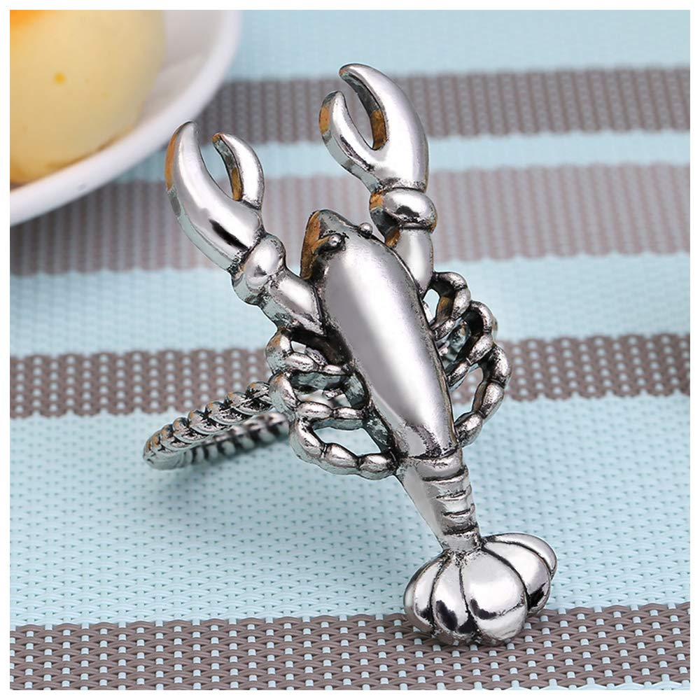 Parties Holidays Wedding QTKJ Alloy Home Silver Lobster Napkin Ring Set of 6 Napkin Buckle for Christmas Lobster, Silver Dinners Decor
