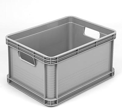 Caja para almacenamiento con asas (plástico, 20 l), color gris: Amazon.es: Bricolaje y herramientas