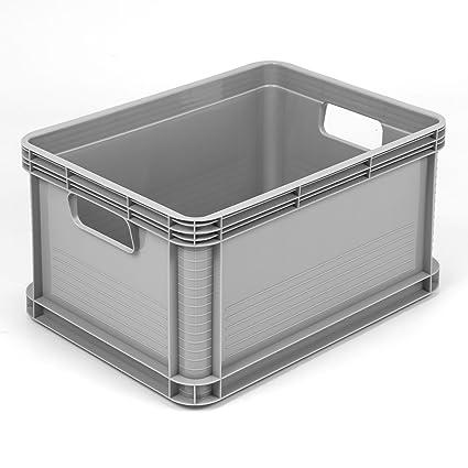 Caja para almacenamiento con asas (plástico, 20 l), color gris