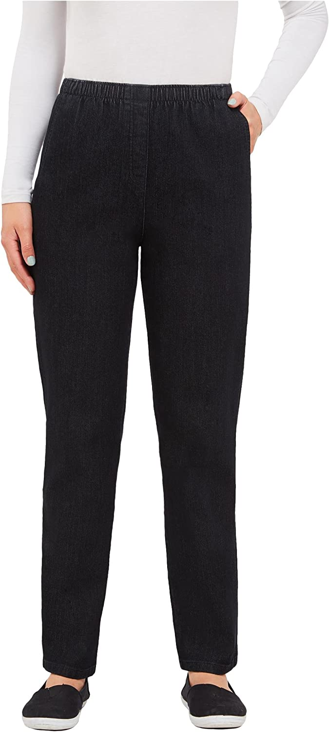 Stretch Diamond Denim Faux Fly Pull-On Pant