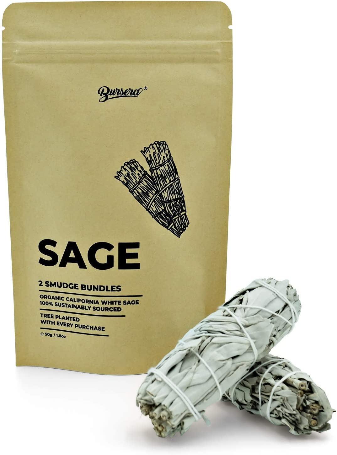 Bursera Sage Sticks, Tree Planted with Every Order, Sustainable Organic California White Sage Smudge Sticks, Sage Smudge Kit, 2 Dried Sage Bundles for Smudging