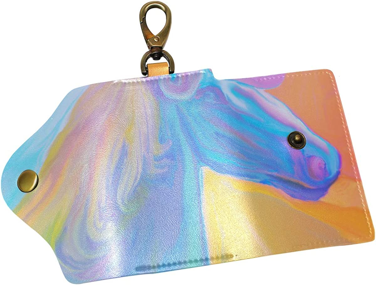 KEAKIA Rainbow Magic Unicorn Leather Key Case Wallets Tri-fold Key Holder Keychains with 6 Hooks 2 Slot Snap Closure for Men Women