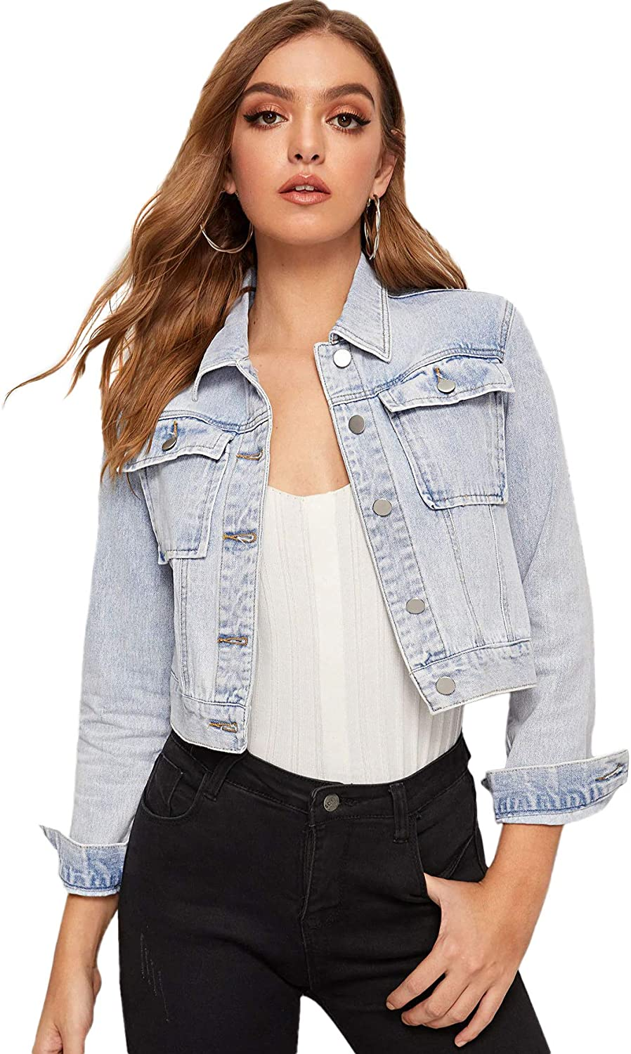 Floerns Womens Classic Washed Button Down Long Sleeve Denim Jacket