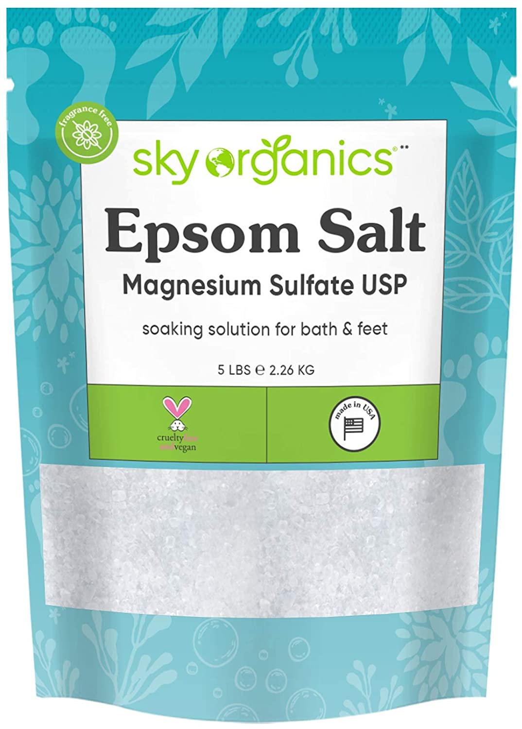 Epsom Salt by Sky Organics (5 lbs.) - 100% Pure Magnesium Sulfate USP Grade Kosher Non-GMO – Bath and Foot Soak Soothing Body Soak. Made in USA : Beauty