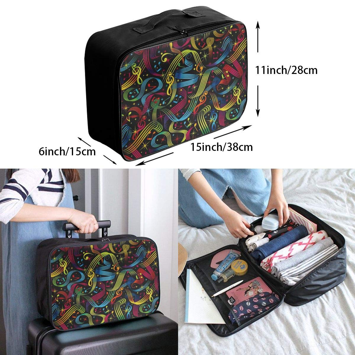Lightweight Large Capacity Duffel Portable Luggage Bag Rock On Bright Music Notes Travel Waterproof Foldable Storage Carry Tote Bag