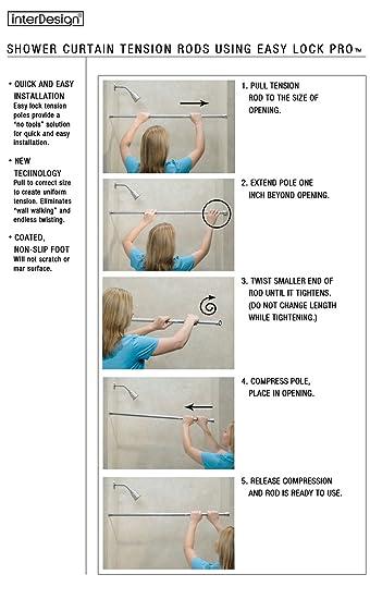 Amazon.com: InterDesign Formbu Constant Tension Rod for Shower ...